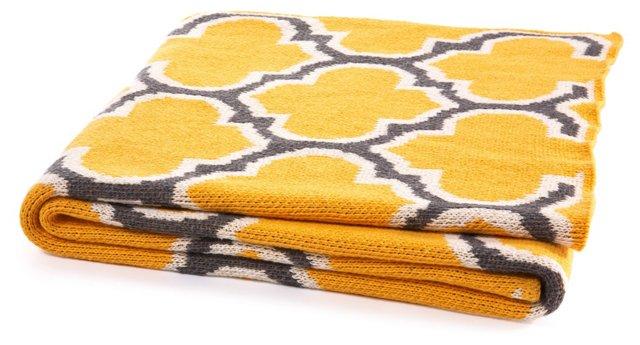 Trellis Cotton-Blended Throw, Sunny