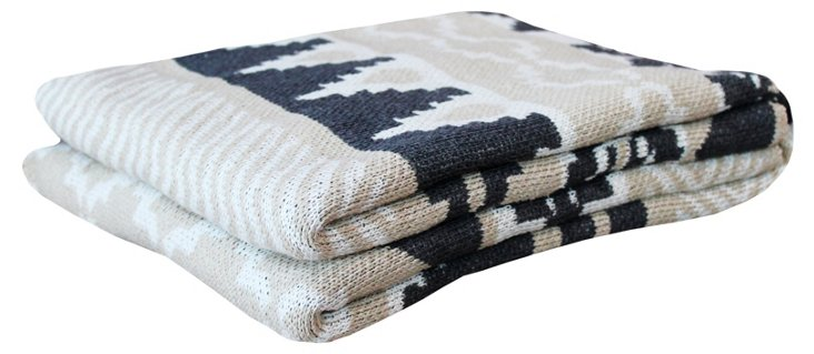 Cotton-Blended Throw, Linen/Pewter