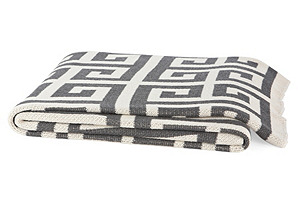 Greek Key Eco Throw, Pewter