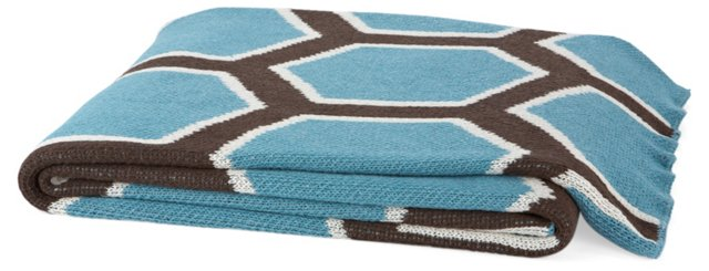 Honeycomb Cotton-Blend Throw, Cerulean