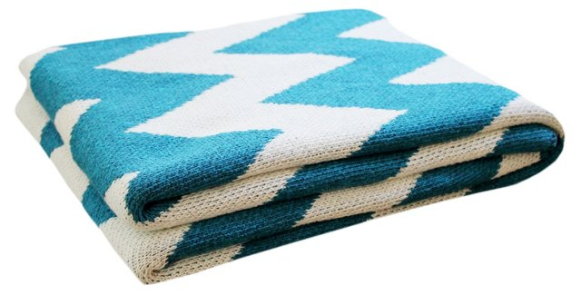 Zigzag Cotton-Blended Throw, Teal
