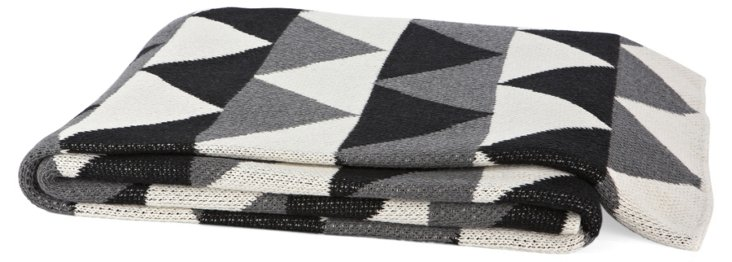 Triangle Cotton-Blend Throw, Black