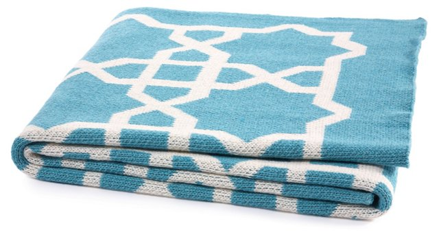 Fretwork Cotton-Blended Throw, Cerulean