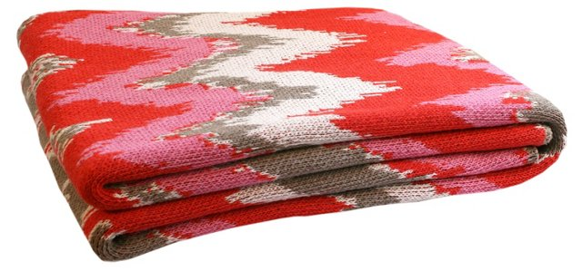 Fuego Cotton-Blended Throw, Coral