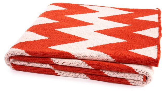 Chevron Cotton-Blended Throw, Paprika