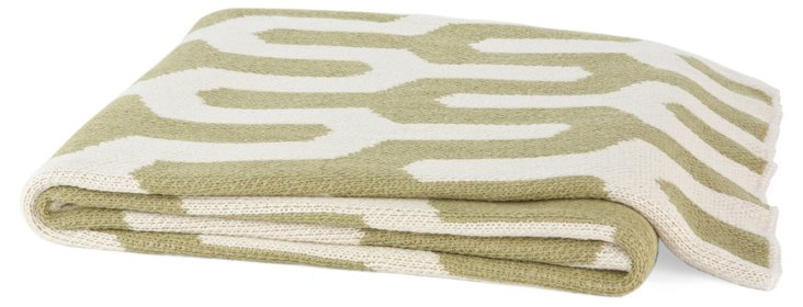 Tribal Cotton-Blend Throw, Sage