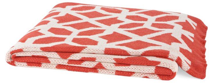 Ventana Cotton-Blend Throw, Coral