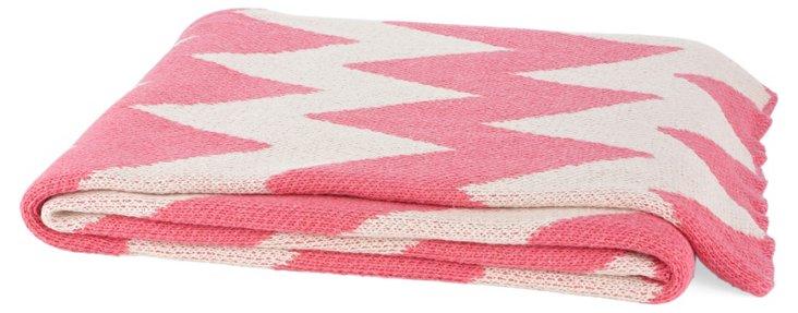 Chevron Cotton-Blend Throw, Pink