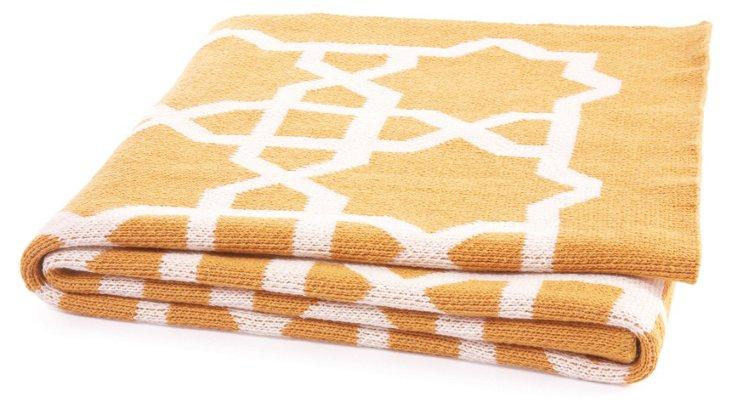 Fretwork Cotton-Blended Throw, Yellow