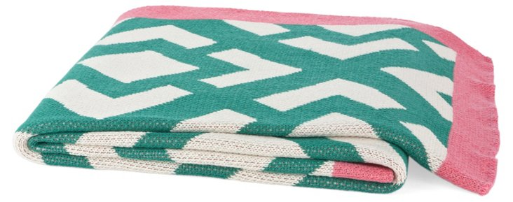 Gate Cotton-Blend Throw, Emerald