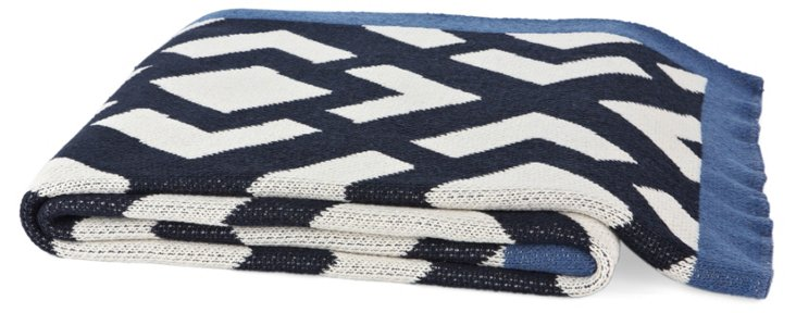 Gate Cotton-Blend Throw, Navy