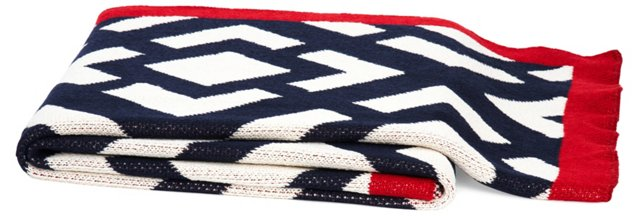Gate Cotton-Blended Throw, Marine/Cherry
