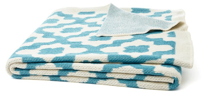 Andalusia Cotton-Blended Throw, Cerulean