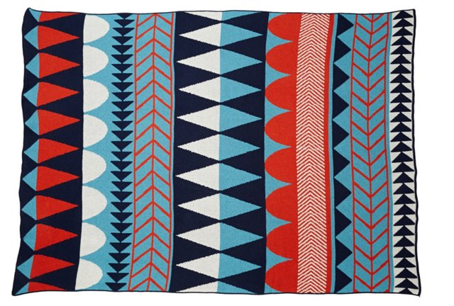 Geometric Cotton-Blended Throw, Blue