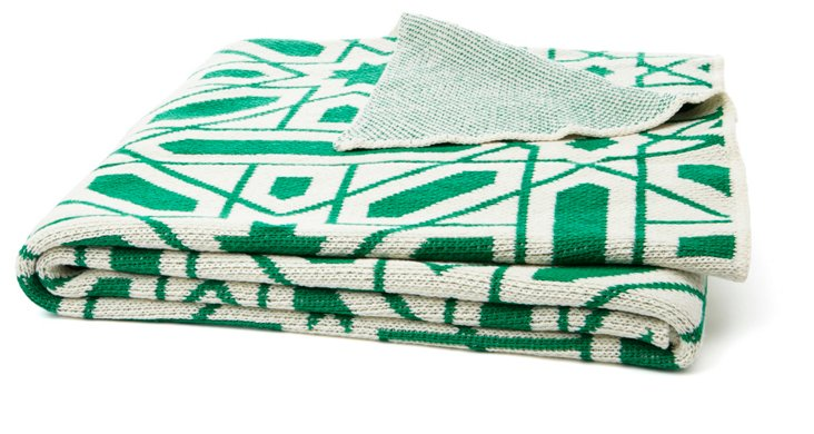 Alhambra Cotton-Blended Throw, Emerald
