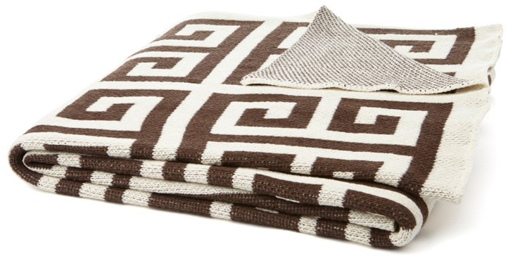 Greek Key Cotton-Blend Throw, Coffee