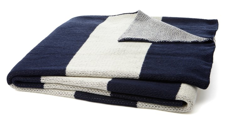 Striped Cotton-Blend Throw, Navy