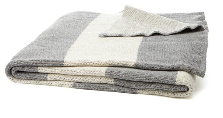 Striped Cotton-Blend Throw, Gray