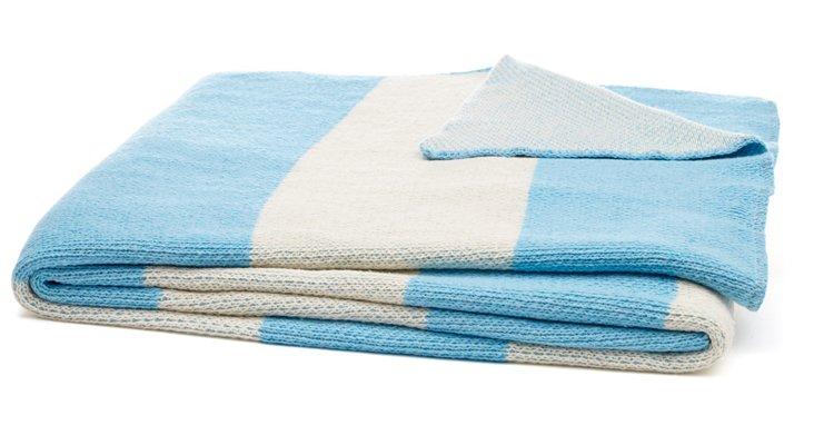 Striped Cotton-Blend Throw, Sky Blue