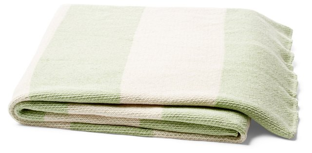 Striped Cotton-Blend Throw, Mint