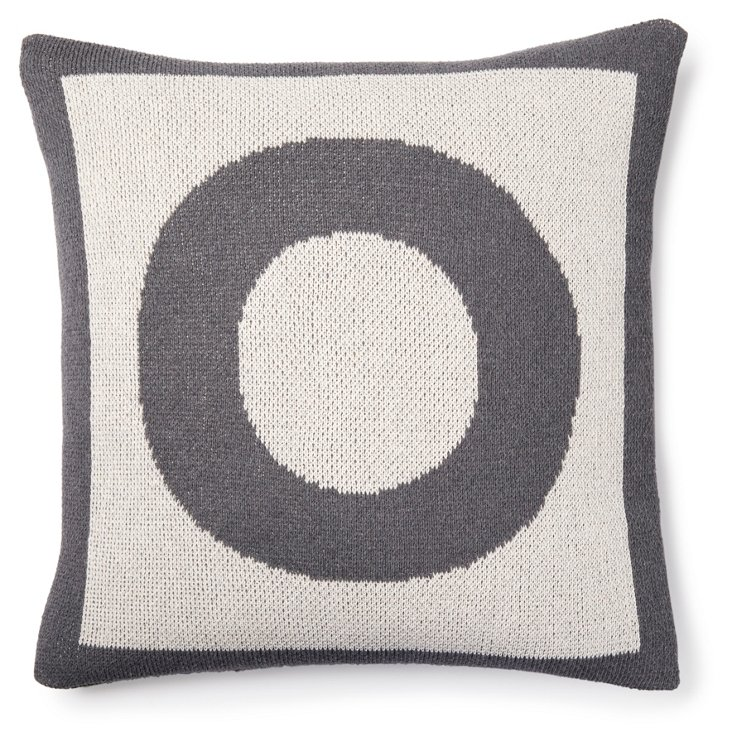 Letter 18x18 Pillow Cover, Gray