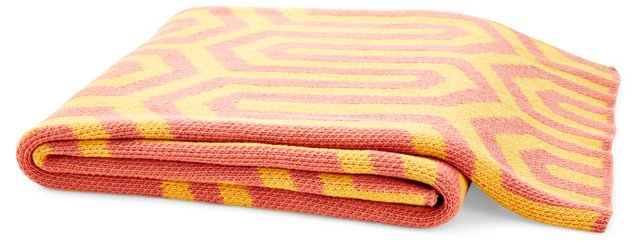 Electric Cotton-Blend Throw, Coral