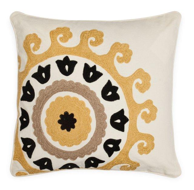 Suzani 18x18 Cotton Pillow, Gold/Black