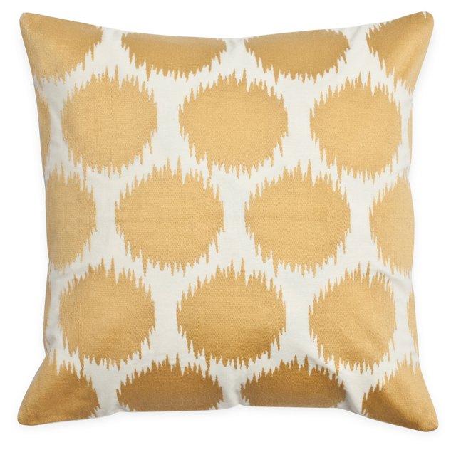 Dots 18x18 Cotton Pillow, Gold