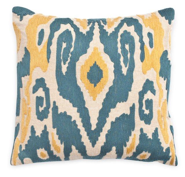 Ikat 20x20 Cotton Pillow, Blue