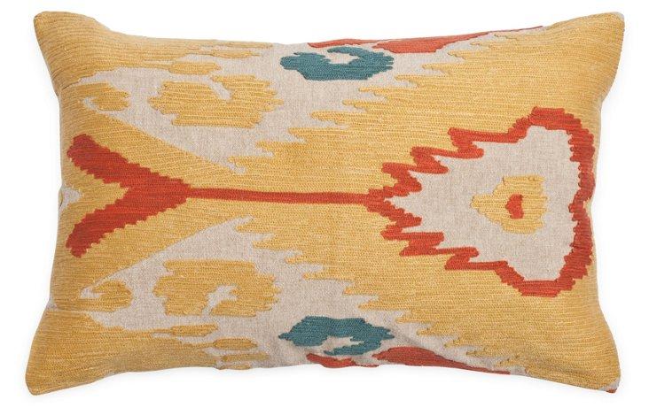 Ikat 14x22 Cotton Pillow, Gold
