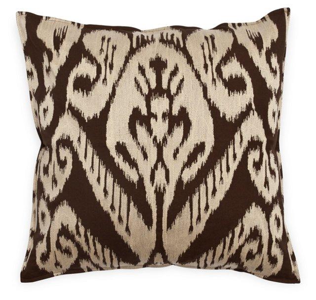 Ikat 18x18 Cotton Pillow, Brown