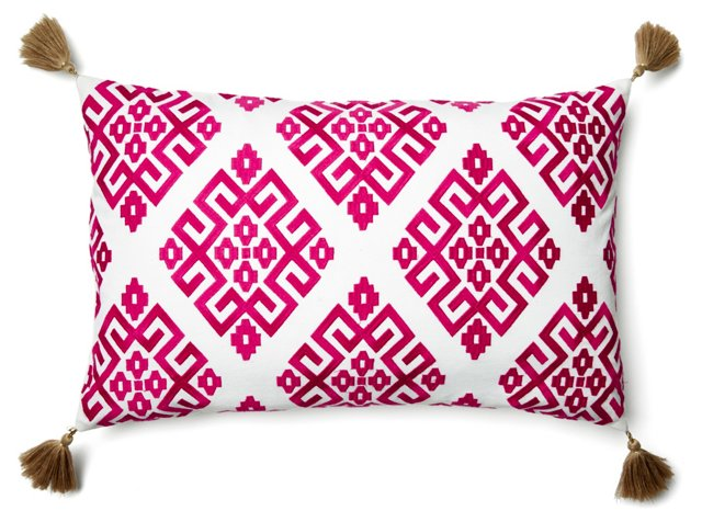 Greek Key 14x22 Pillow, Fuchsia