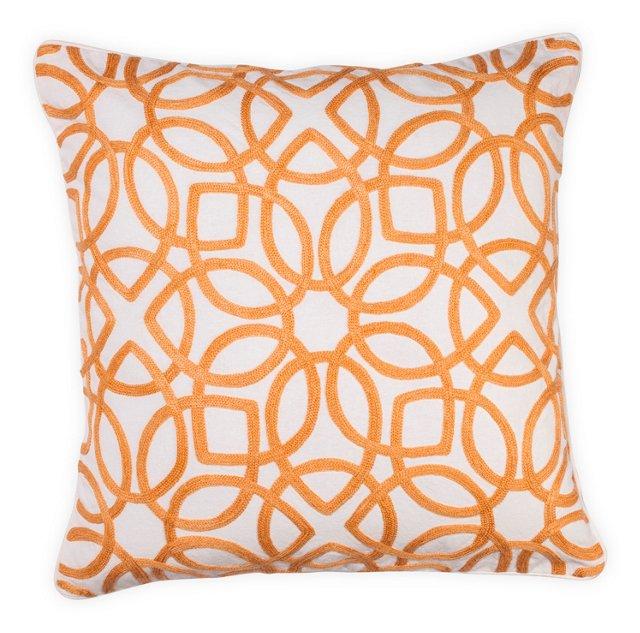 Crewel 18x18 Pillow, Orange