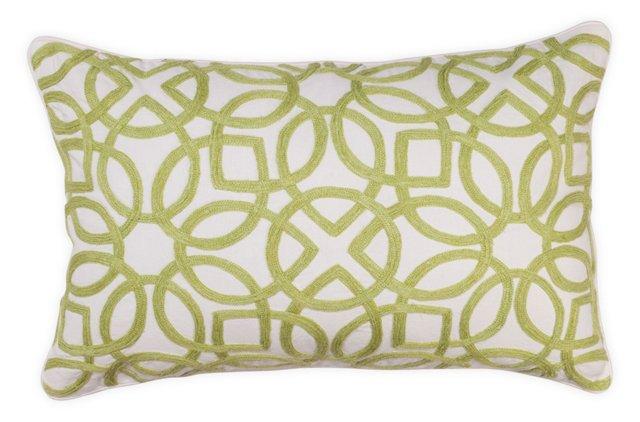 Crewel 14x22 Pillow, Green