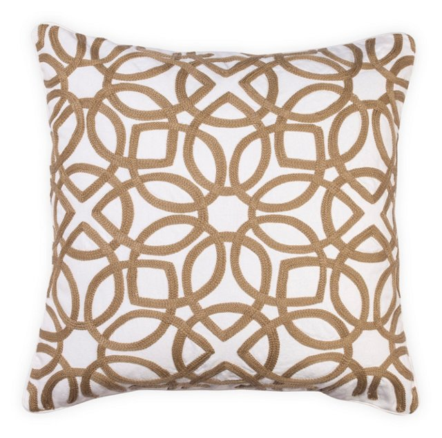 Crewel 18x18 Cotton-Blend Pillow, Taupe