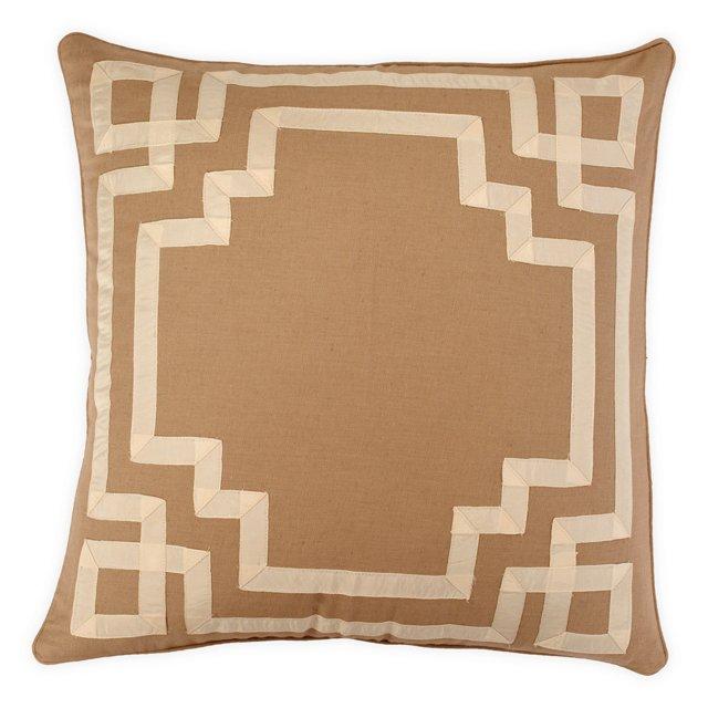 Key 18x18 Cotton-Blend Pillow, Taupe