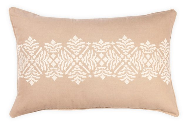 Medallion Stripe 14x22 Pillow, Sand