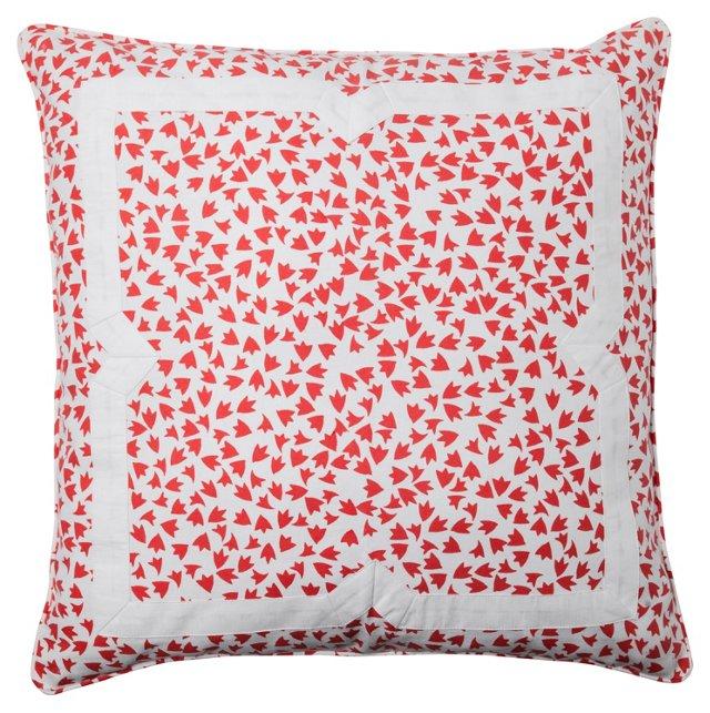 Flutter 20x20 Appliqué Pillow, Coral