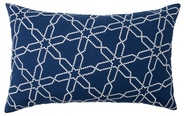 Astral 14x22 Embroidered Pillow, Navy