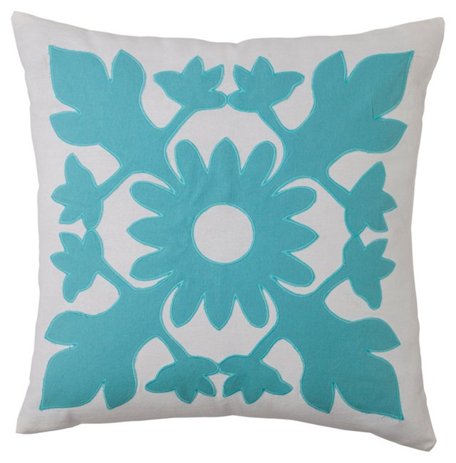 Floral Medallion 18x18 Pillow, Blue