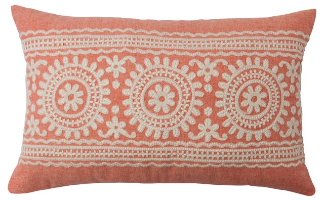 Garland 14x22 Embroidered Pillow, Coral