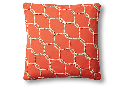 Fishnet 18x18 Cotton Pillowcase, Orange