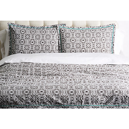 Olinda Duvet Set, Black/White