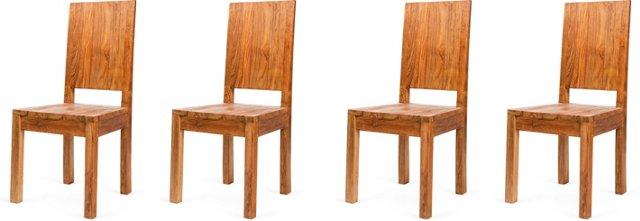 Minimalist Teak Chairs, Set of 4