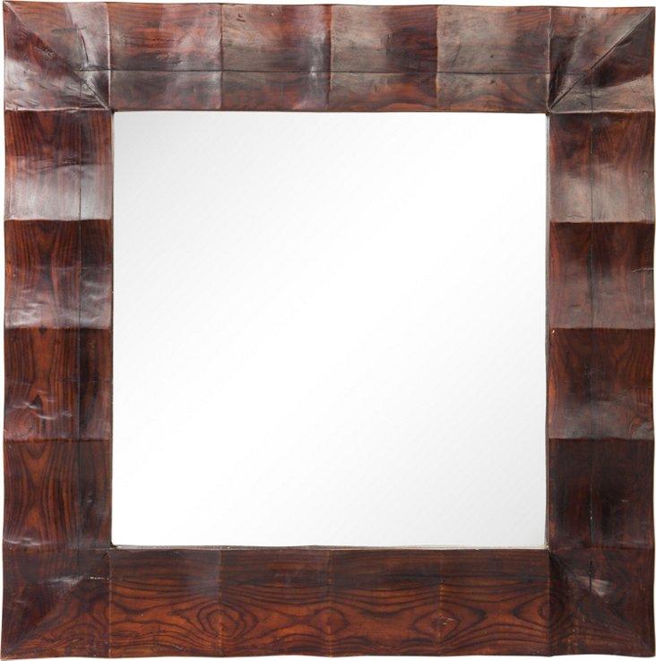 Wavy Teak Mirror, Square