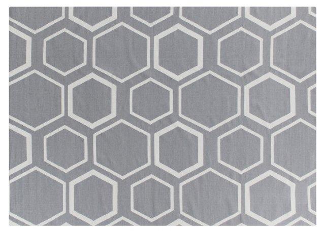 2'x3' Honeycomb Dhurrie, Gray/Cream