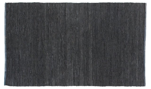 "11'6""x14'6"" Lashed Leather Dhurrie, Gray"