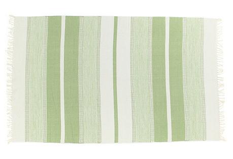 Stripe Flat-Weave Rug, Green