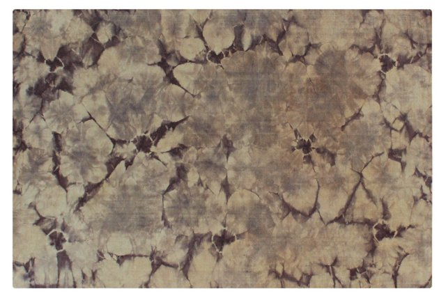 6'x9' Marbled Dhurrie, Eggplant/Linen