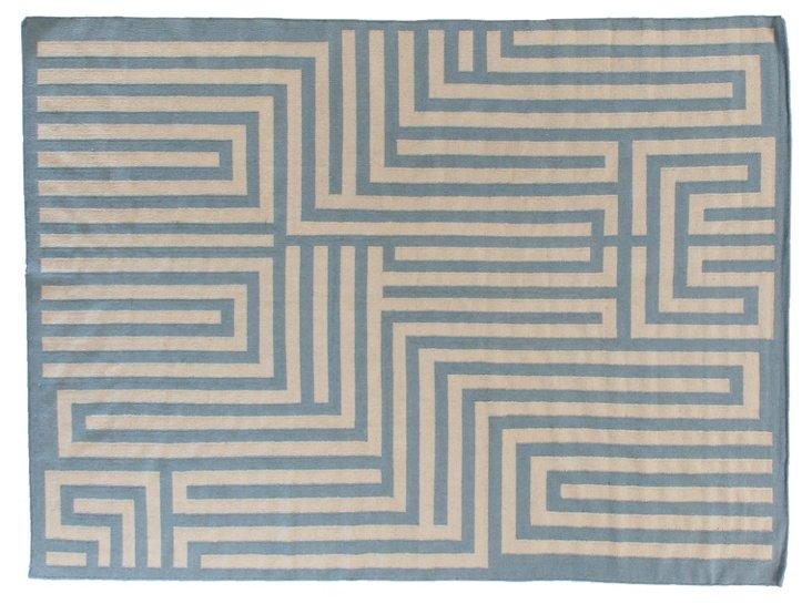 Maze Dhurrie, Light Blue